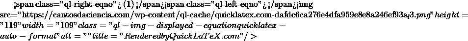 "<span class=""ql-right-eqno""> (1) </span><span class=""ql-left-eqno"">   </span><img src=""https://cantosdaciencia.com/wp-content/ql-cache/quicklatex.com-dafdc6ca276e4dfa959e8e8a246ef93a_l3.png"" height=""119"" width=""109"" class=""ql-img-displayed-equation quicklatex-auto-format"" alt=""\begin{align*} & {{4}^{2}}-4.p.4=0 \\ & 16-16p=0 \\ & -16p=-16 \\ & p=\frac{-16}{-16}=1 \\ \end{align*}"" title=""Rendered by QuickLaTeX.com""/>"